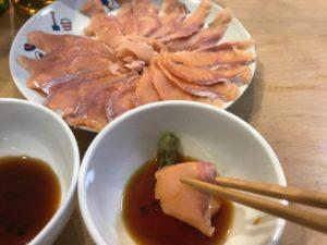 ニジマスの刺身の実食