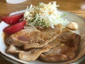 川場キングダムフィッシングの生姜焼き定食